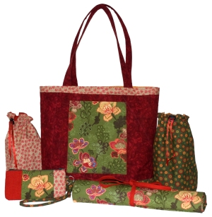Big Red Tote with Knitters Accessories