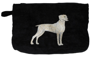 Weimaraner Clutch in Faux Suede