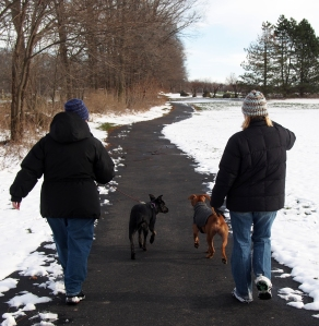 Millie Remy and the moms walking