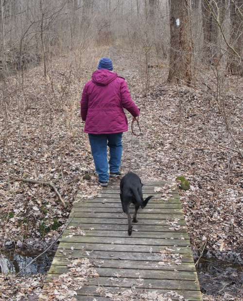 Milllie and Cindy on small bridge Penfield Town park