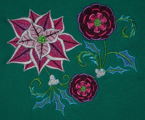 Pointsettia Embroidery on green