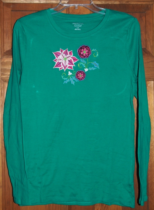 T-shirt with Pointsettia Embroidery