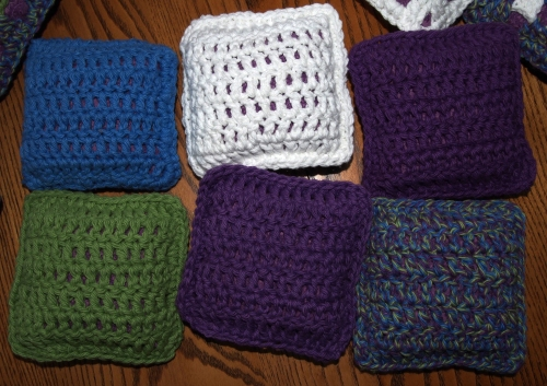 Crochet - granny square pincushions - backs
