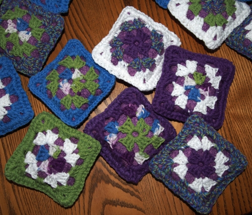Crochet - granny square pincushions - front detail