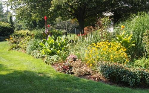 View of perennial garden