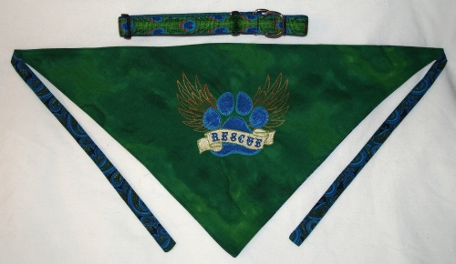 Rescue Bandannas - Walters - green with collar