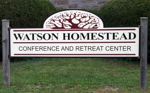 retreat weekend - watson homestead sign