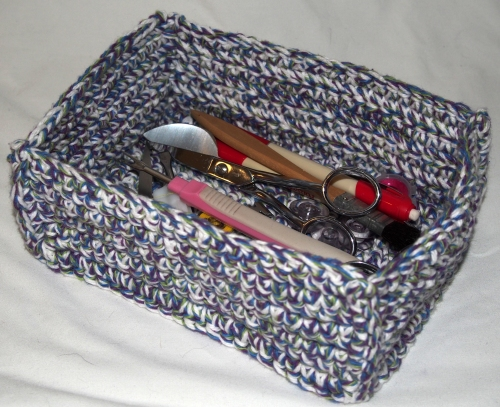 Small Crochet box - just right for sewing tools