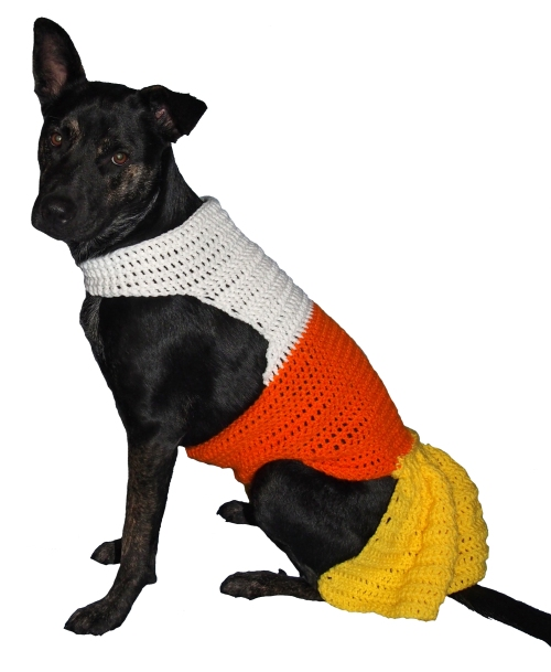 Millie models her cute Candy Corn inspired dress