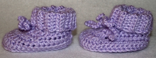 Purple Baby Booties - side view