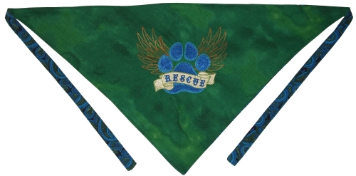 Rescue Bandana - green with paisley back