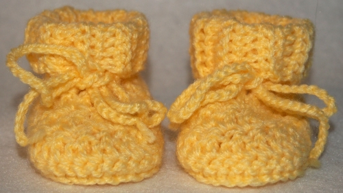 Yellow Baby Booties - front view