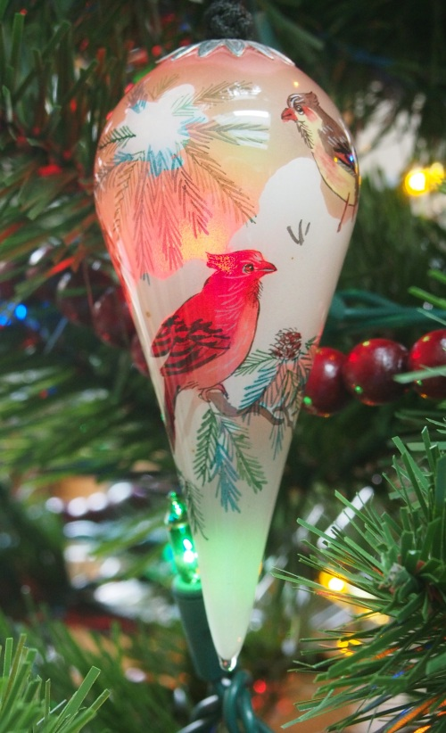 Painted Glass Cardinal Ornament