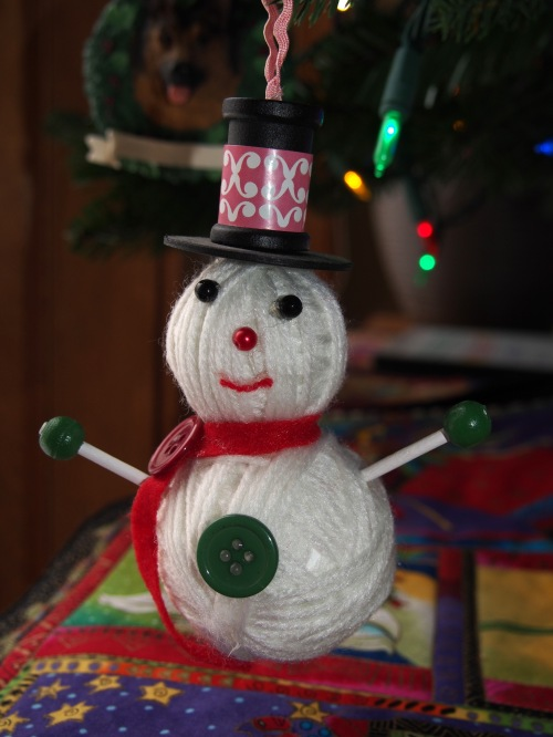 Yarn Snowman Ornament