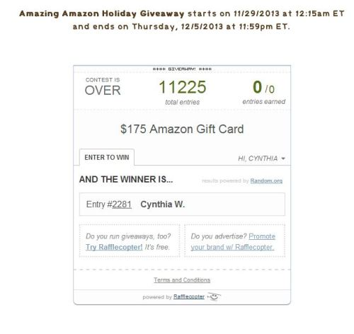 Amazon Gift Card Winner - Rafflecopter
