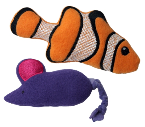 Catnip filled Fleece Fish and Mouse
