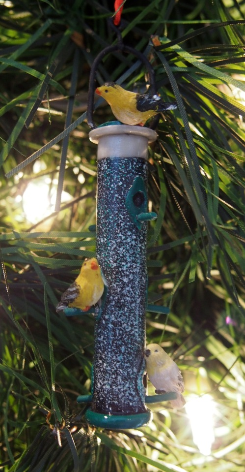 Goldfinches on a Feeder