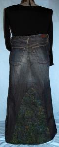Jeans skirt - jungle batik - back view - LR