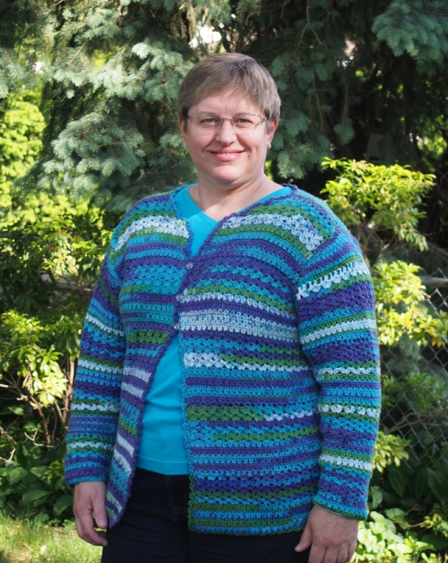 Me in my new crochet cardigan!