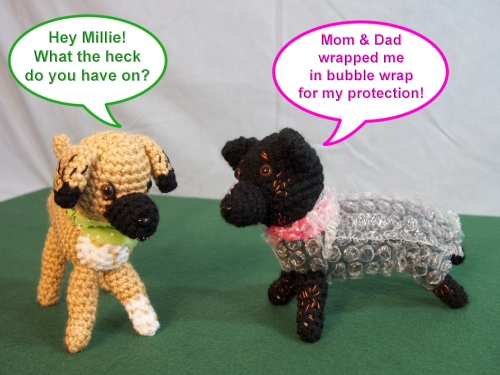 Mini Millie in bubble wrap with Mini Walter - With thought bubbles