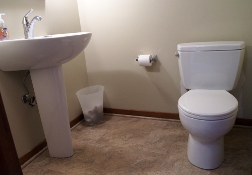 New pedestal sink and toilet