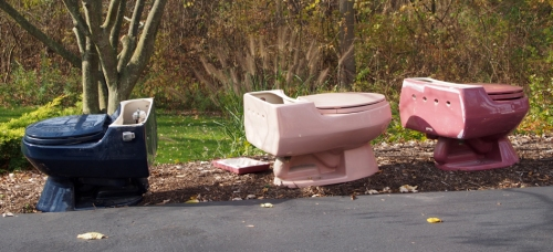 toilets in yard