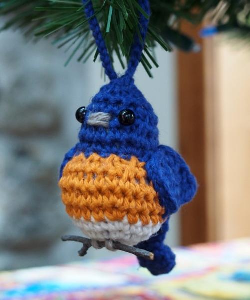 Bluebird Ornament Hanging on Tree