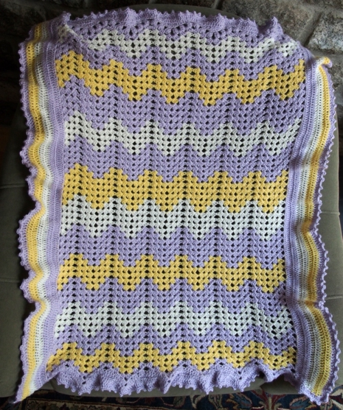 Granny Ripple Baby Afghan with a twist