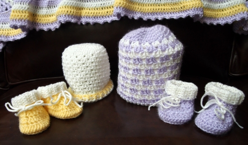Crochet hats and booties