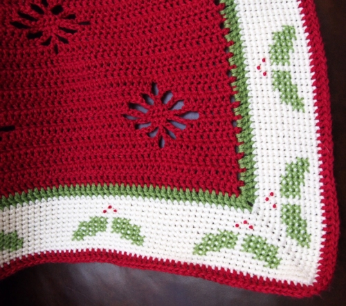 Close up of corner of Christmas Holly Afghan