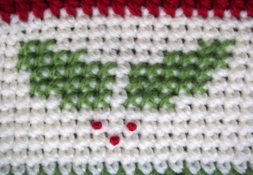 Christmas Holly Afghan - holly cross stitch border detail