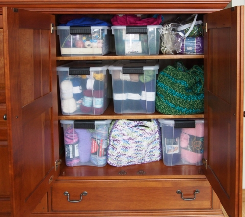 TV cabinet yarn storage