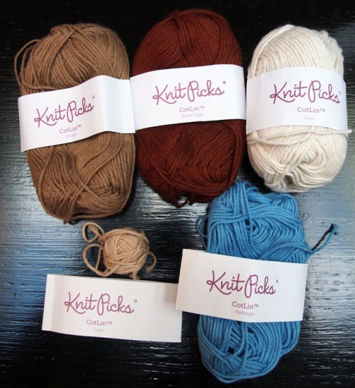 Knit Picks CotLin Yarn colors for Mary, Joseph, Jesus and the manger Top: Cashew, Brown Sugar (discontinued color), Swan Bottom: Linen, Hydrangea