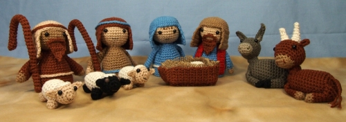 Nativity with Shepherds, Sheep, Mule and Ox