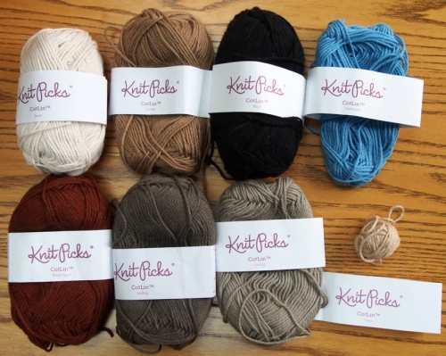 Knit Picks CotLin™ Yarn colors for Shepherds, Sheep, Mule and Ox Top: Swan, Cashew, Black, Hydrangea Bottom: Brown Sugar (discontinued color), Wallaby, Gosling, Linen