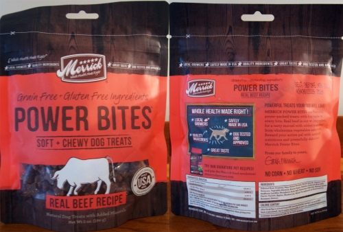 Merrick Power Bites bag - front and back