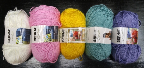 Bernat Satin Yarn Colors: Silk, Flamingo, Dandelion, Sage, Lavender